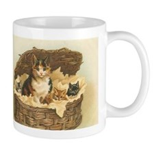 Calico Cat and Kittens in Bas Mug