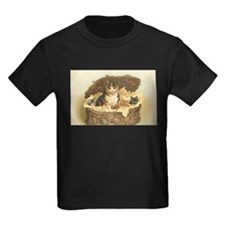 Calico Cat and Kittens in Bas T