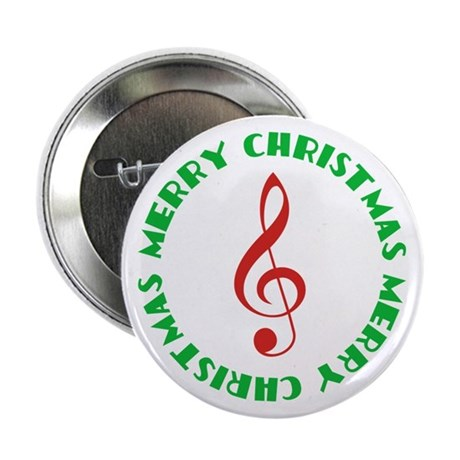 Treble Clef Merry Christmas Music Button