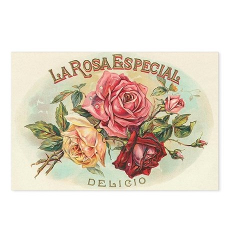 Roses antique label Postcards (Package of 8)