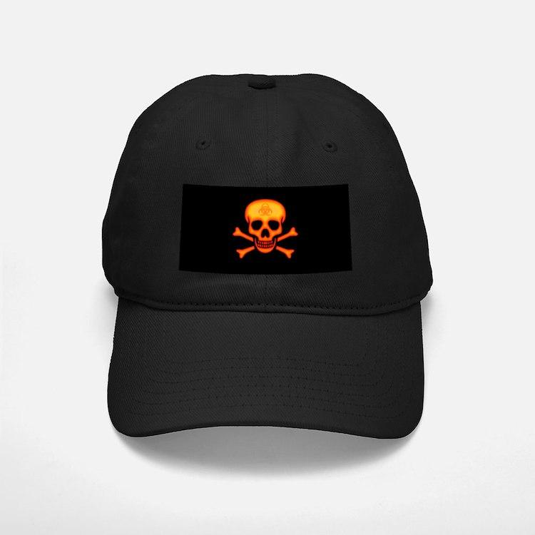 Orange Biohazard Skull Baseball Hat