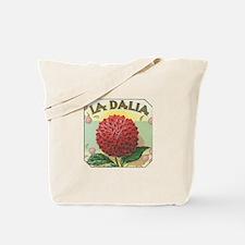 Red Dahlia antique label Tote Bag