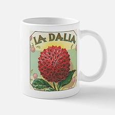 Red Dahlia antique label Mug
