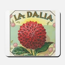 Red Dahlia antique label Mousepad