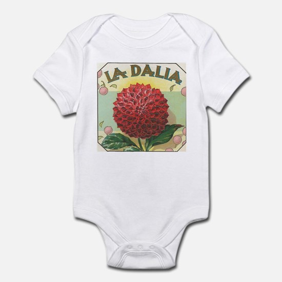 Red Dahlia antique label Infant Bodysuit