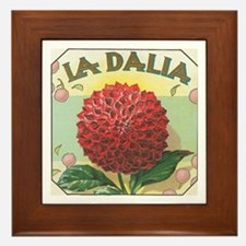 Red Dahlia antique label Framed Tile