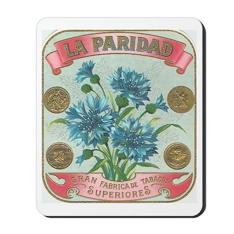 Blue Flowers antique label Mousepad