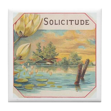 Peaceful Floral antique label Tile Coaster