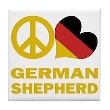 Peace Love German Shepherd Tile Coaster