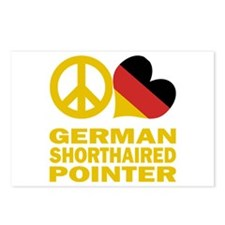 Peace Love German Shorthaired Pointer Postcards (P