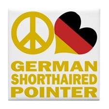 Peace Love German Shorthaired Pointer Tile Coaster