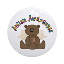 Autism Awareness Bear Ornament (Round)