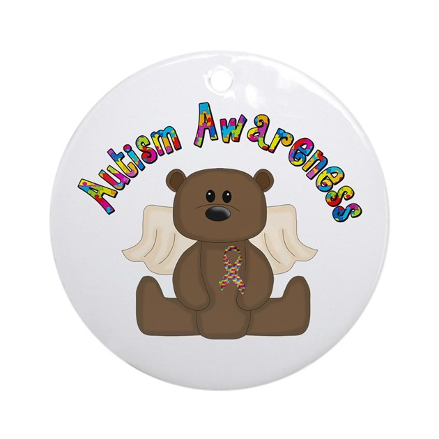 Autism awareness bear ornament round by awarenessalley for Belly button bears wall mural