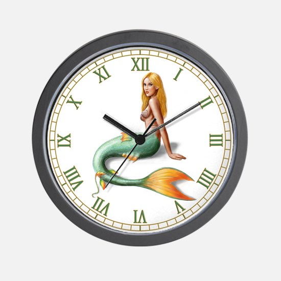 Mermaid with orange fin Wall Clock
