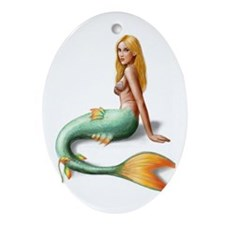 Mermaid with orange fin Ornament (Oval)