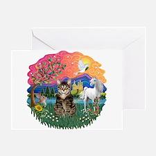 Fantasy Land Tabby Tiger Cat Greeting Card