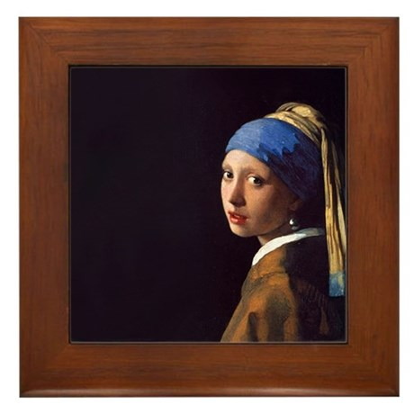 Girl With a Pearl Earring Framed Tile
