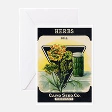 Dill Herbs antique seed packe Greeting Card