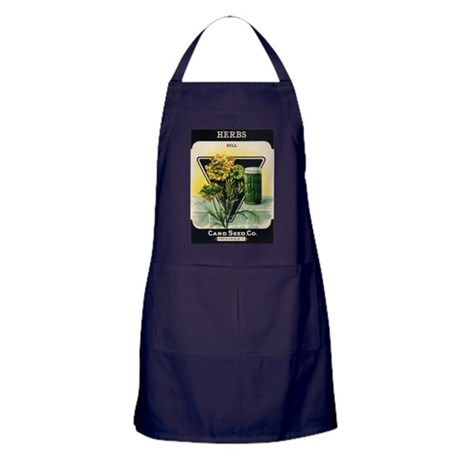 Dill Herbs antique seed packe Apron (dark)