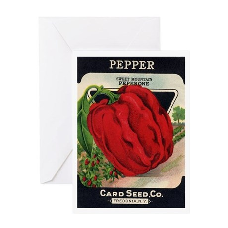 Red Bell Pepper antique seed Greeting Card