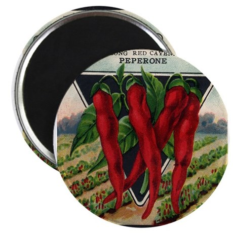 Hot Peppers antique seed pack Magnet
