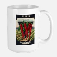Hot Peppers antique seed pack Large Mug