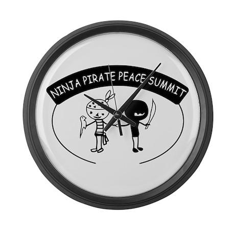 Ninja Pirate Peace Summit Large Wall Clock