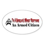 Burglar's Worst Nighmare Sticker (Oval 50 pk)