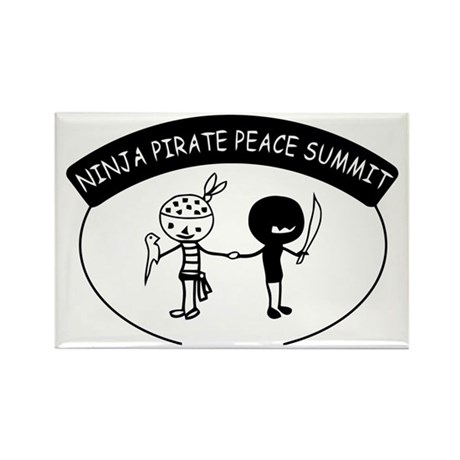 Ninja Pirate Peace Summit Rectangle Magnet (100 pa