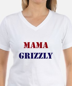 Mama Grizzly Women's White V-Neck T-Shirt