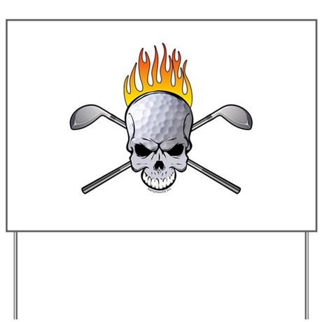 Skull Golf Yard Sign