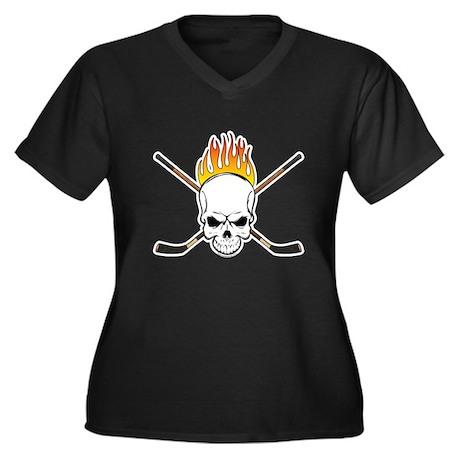Skull Hockey Women's Plus Size V-Neck Dark T-Shirt