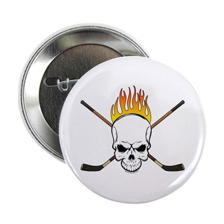 "Skull Hockey 2.25"" Button (10 pack)"