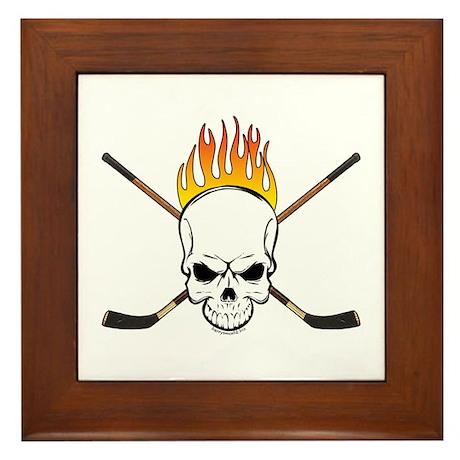 Skull Hockey Framed Tile