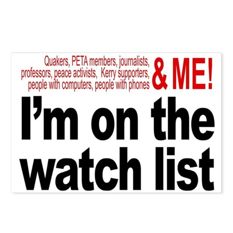 On watch list Postcards (Package of 8)