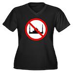 No Mosque Women's Plus Size V-Neck Dark T-Shirt