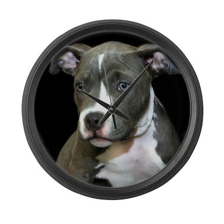 Pitbull Puppy Large Wall Clock