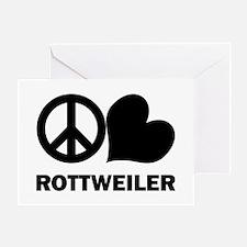 Peace Love Rottweiler Greeting Card