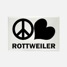 Peace Love Rottweiler Rectangle Magnet
