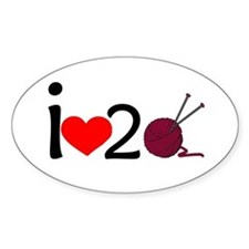 i heart 2 knit Decal