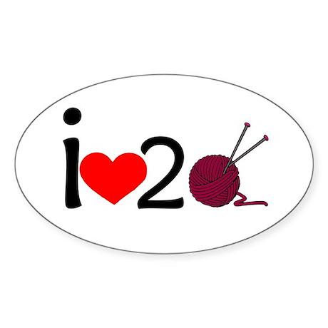 i heart 2 knit Sticker (Oval)