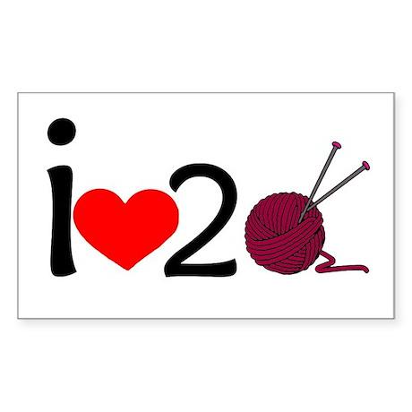 i heart 2 knit Sticker (Rectangle)