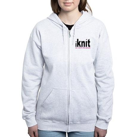 i knit so idon't kill people Women's Zip Hoodie
