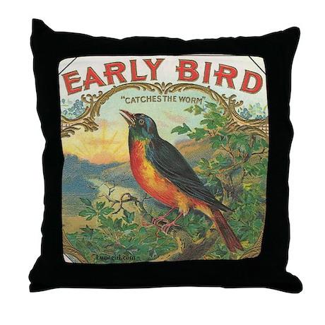 Robin Early Bird vintage label Throw Pillow