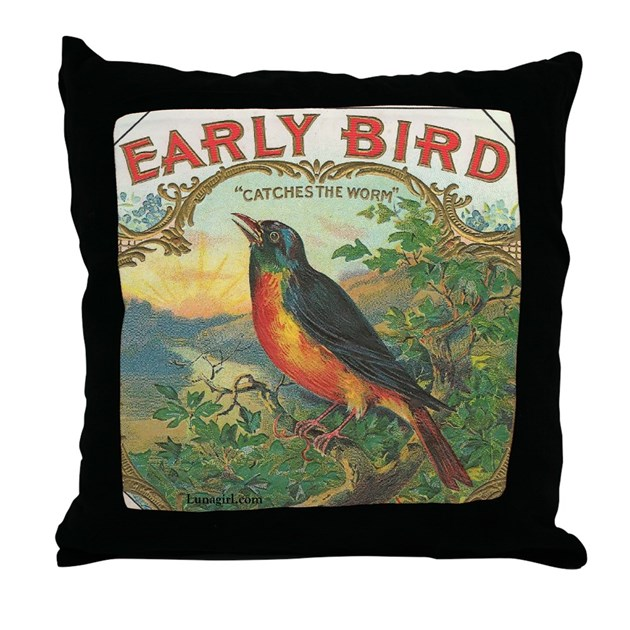 Robin Early Bird Vintage Label Throw Pillow By Lunagirl_images