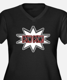 Pow Pow Women's Plus Size V-Neck Dark T-Shirt
