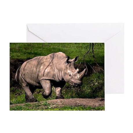 Rhino on Hill Greeting Card
