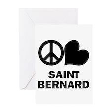 Peace Love Saint Bernard Greeting Card