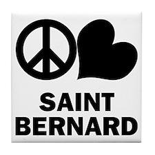 Peace Love Saint Bernard Tile Coaster
