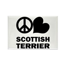 Peace Love Scottish Terrier Rectangle Magnet